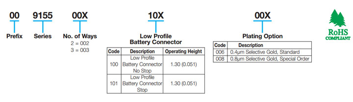 Ultra-Low Profile 2.5mm Pitch Battery: 9155-100
