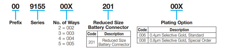 Reduced Battery 2.5mm Pitch: 9155-200