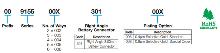 Right Angle 3.0mm Pitch Battery: 9155-300