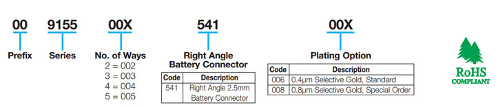 Right Angle 2.5mm Pitch Battery: 9155-500