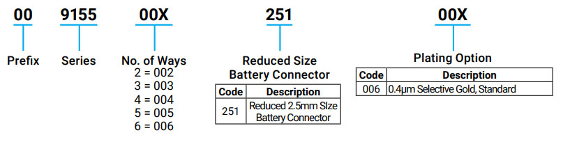 Reduced Battery 2.5mm Pitch: 9155-250